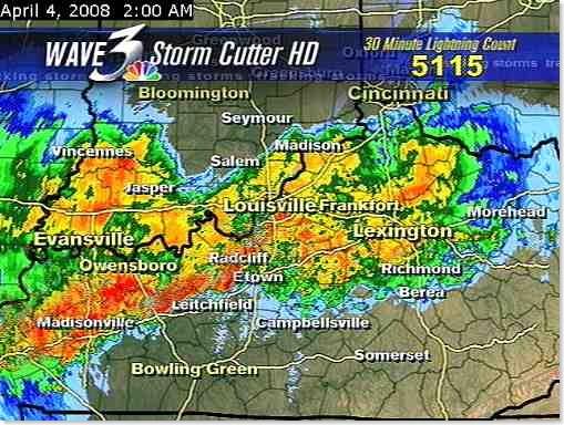 2AM on Fri April 4 - 5115 lightning strikes in 30 minutes